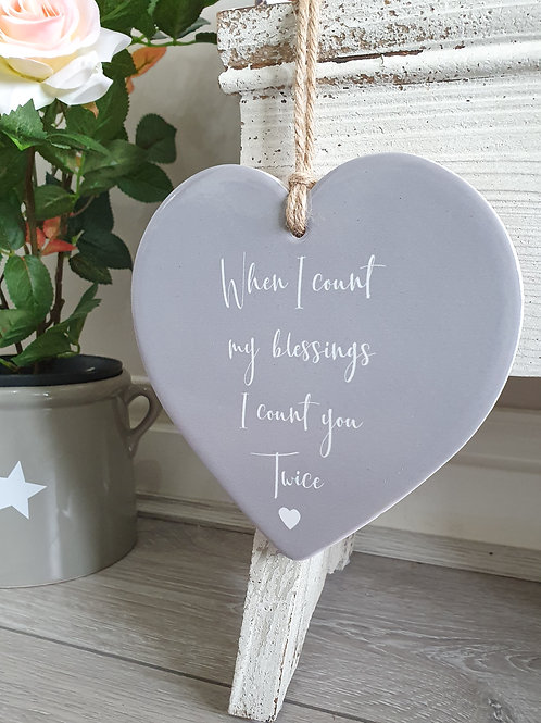 Grey Ceramic Hanging Friendship Heart