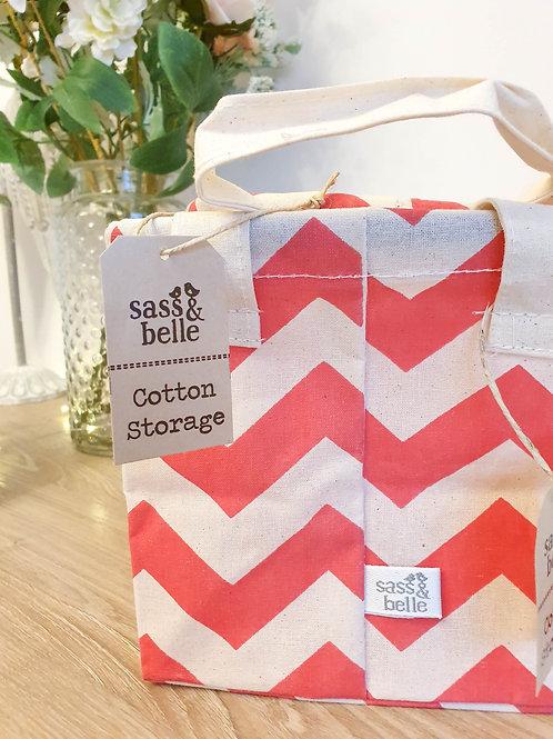 Pretty Pink Chevron Storage Basket Set
