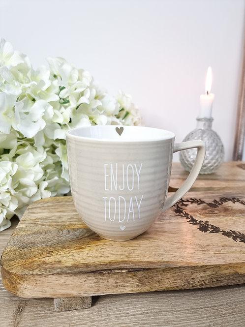 Taupe 'Enjoy Today' Mug With Heart
