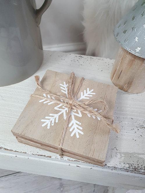 Light Wooden Snowflake Coasters