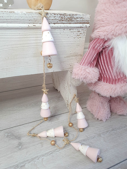 Pink Wooden Tree Hanging Garland