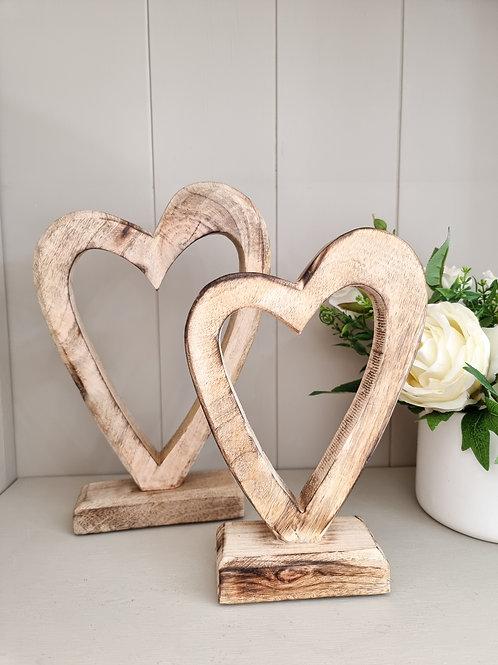 Natural Mango Wood Standing Heart