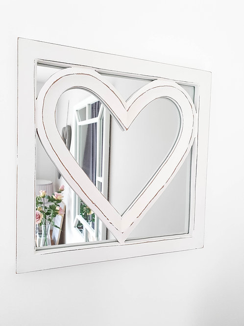 White Heart Inlay Wall Mirror