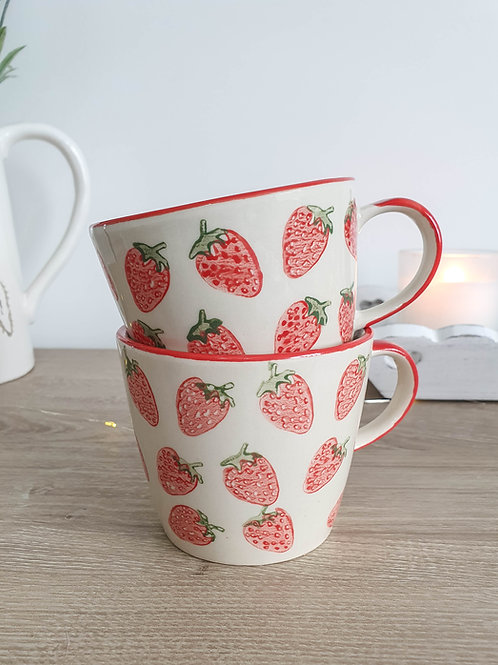 Hand Painted Summer Strawberry Mug