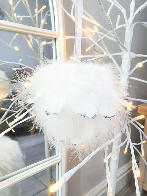 Fluffy Feather Silver Glitter Bauble