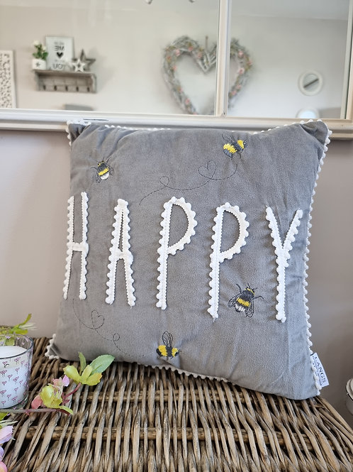 Bee Embroidered Happy Cushion