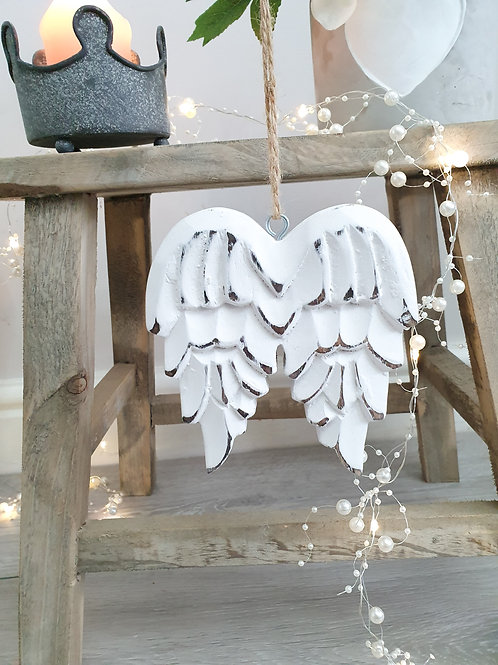 Hand Carved Hanging White Angel Wings