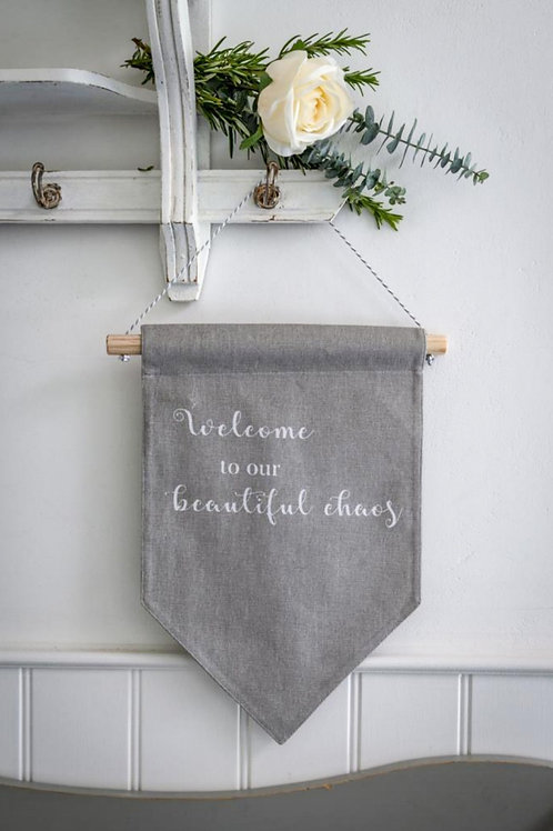 Welcome To Our... Dove Grey Fabric Hanger