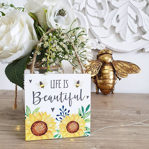 Mini Positive Sunflower Plaque