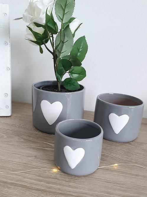 Grey Heart Ceramic Pot S/3