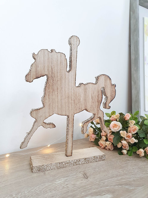 Glittered Merry Go Round Horse Figure