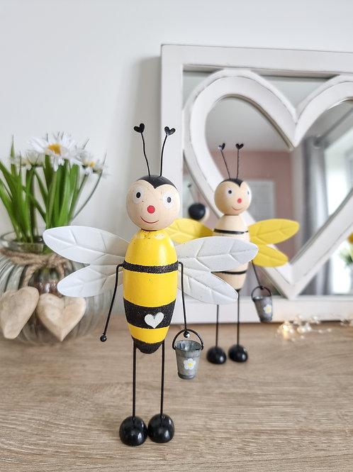 Spring Metal Bee Figure