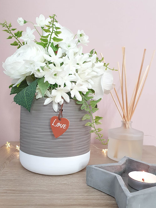 Grey & White Planter With Love Tag