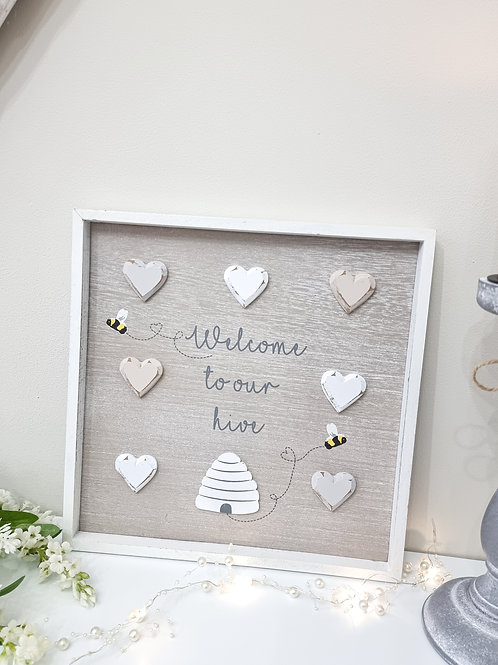 Welcome To Our Hive Heart Plaque