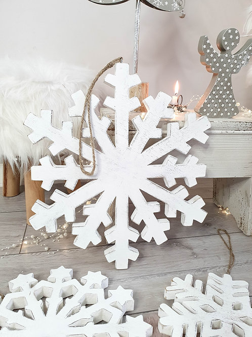 Distressed White Hand Carved Wooden Snowflake