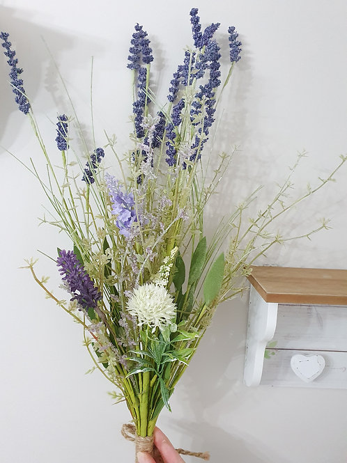 Faux Wild Lavender Bouquet With Twine