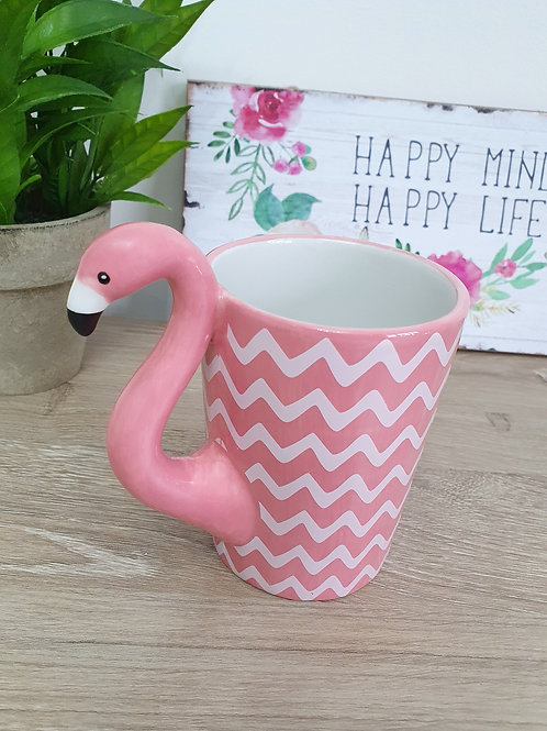 Pink Flamingo Chevron Mug