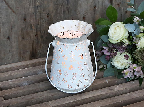 Rustic White Iron Butterfly Lantern