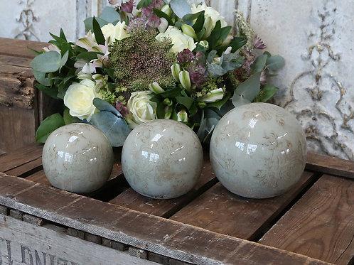 Vintage Jade Green Floral Decorative Balls