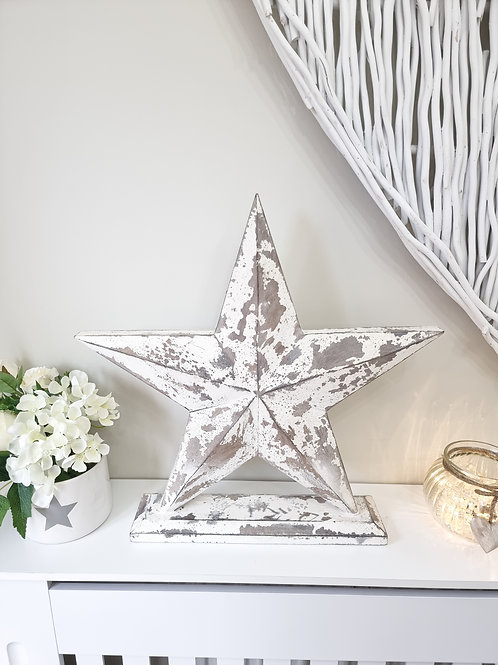 White Distressed Wooden Freestanding Star