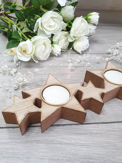 Wooden Star Long T-light Candle Holder