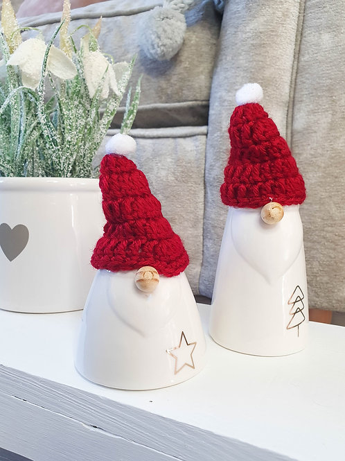 White Gonk Set With Red Knitted Hats