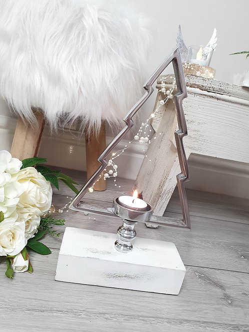 Silver Christmas Tree Shaped Candle Holder
