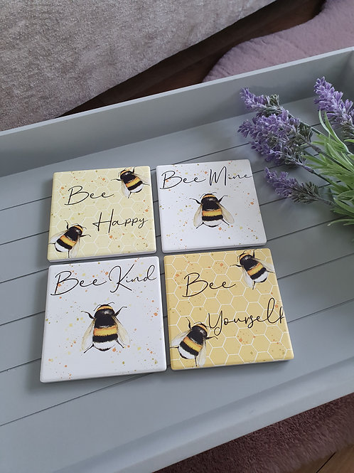 Positive Square Bee Coasters Set Of 4