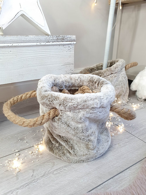 Faux Fur Pouch With Chunky Rope Handles
