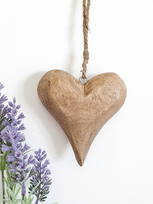 Chunky Natural Wooden Hanging Heart