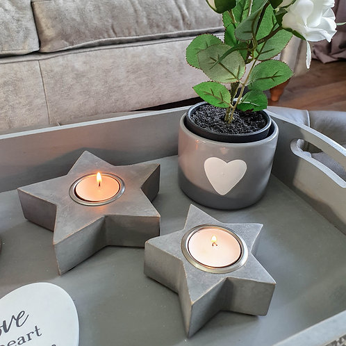 Chunky Grey Star Candle Holder SMALL ONLY
