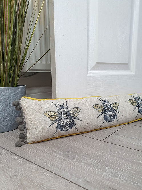 Vintage Bee Pom Pom Draught Excluder