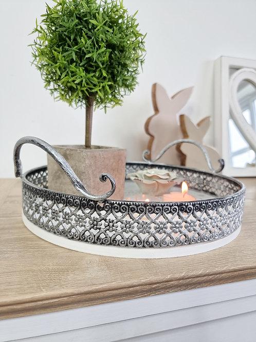 Intricate Grey & White Round Tray