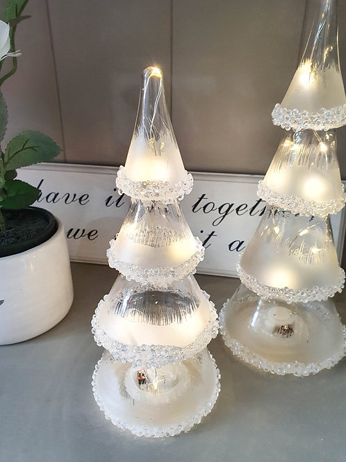 Frosted LED Glass Christmas Trees