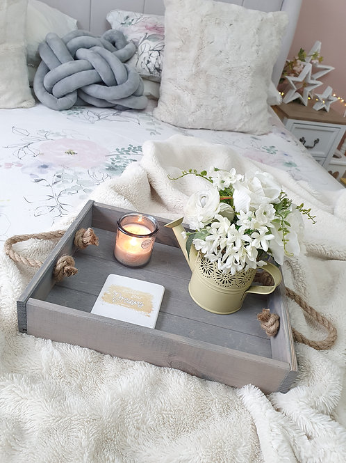 Grey Wooden Tray With Chunky Rope Handles