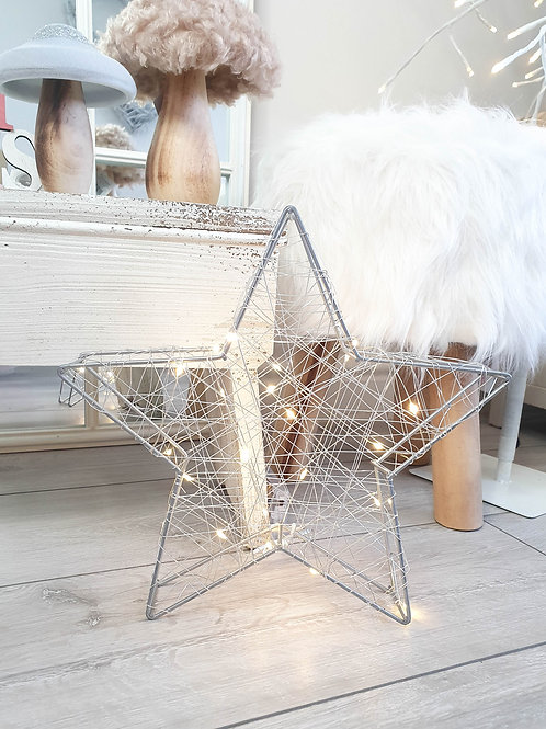 Silver LED Wire 3D Standing Star