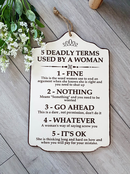 Vintage Woman's Deadly Terms Plaque