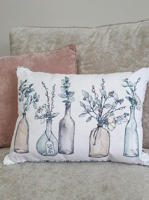 White Watercolour Floral Cushion