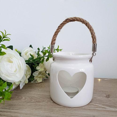 White Heart Lantern Style Candle Holder