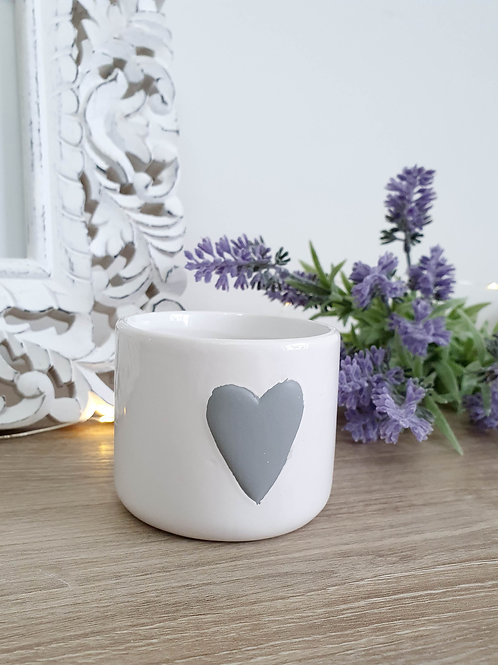 White Ceramic Pot With Grey Heart Small