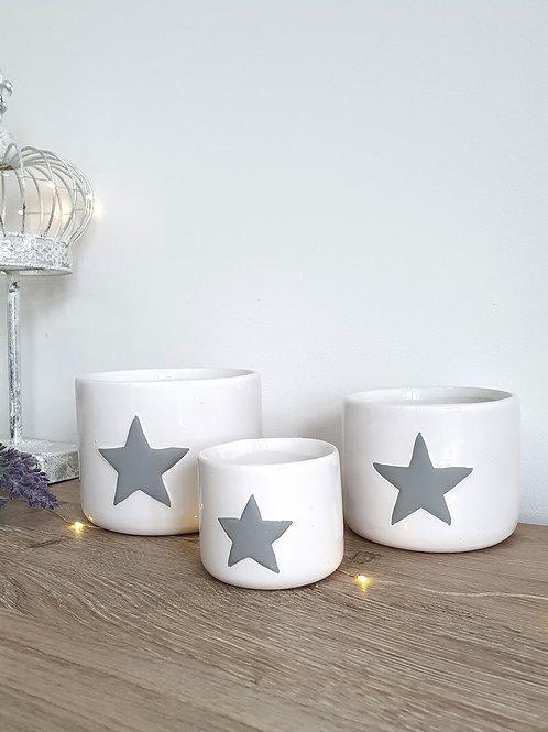 White Star Ceramic Pots S/3 **IMPERFECT**