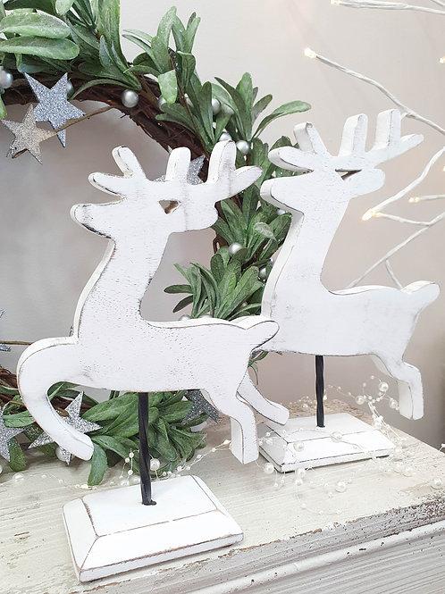 White Wooden Reindeer Figures S/2