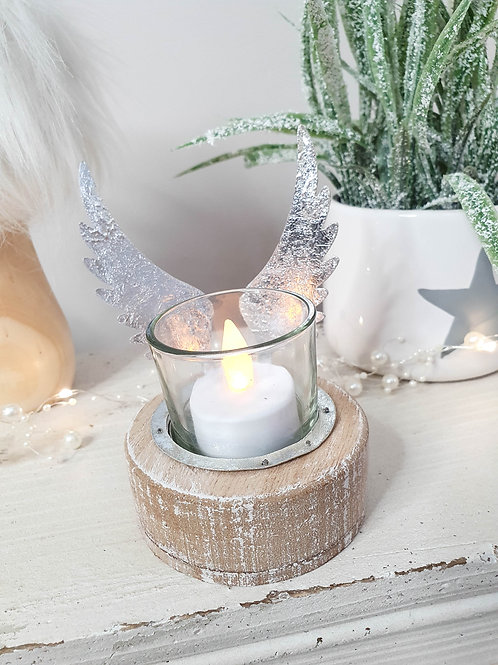 Rustic Angel Wing Candle Holder