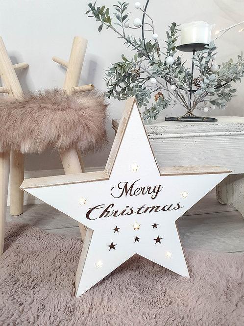 Rustic White LED Merry Christmas Star