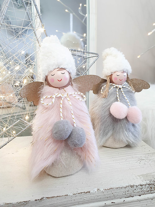 Fluffy Winter Girl Decoration With Pom Poms