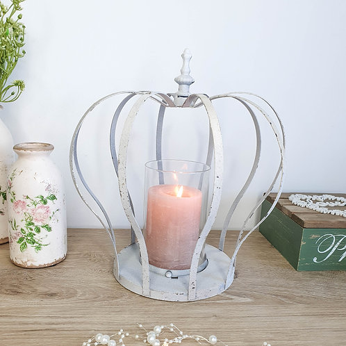 Rustic White Crown Pillar Candle Holder