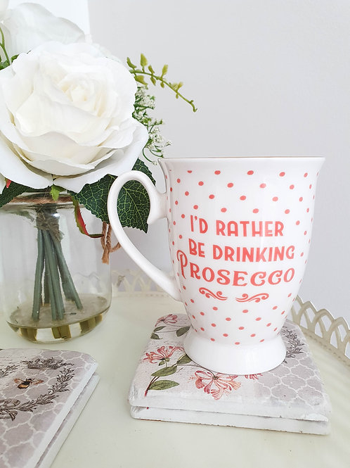 Polka Dot Footed White Prosecco Mug