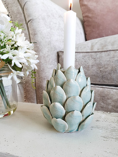 Green Artichoke Dinner Candle Holder