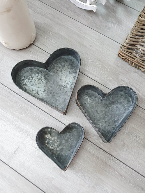 Aged Grey Heart Shaped Iron Tray