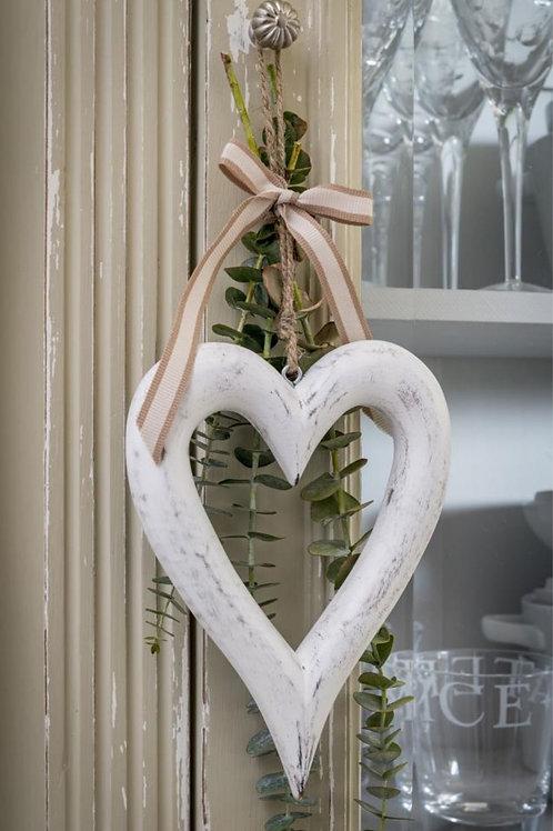 Chunky White Hanging Heart